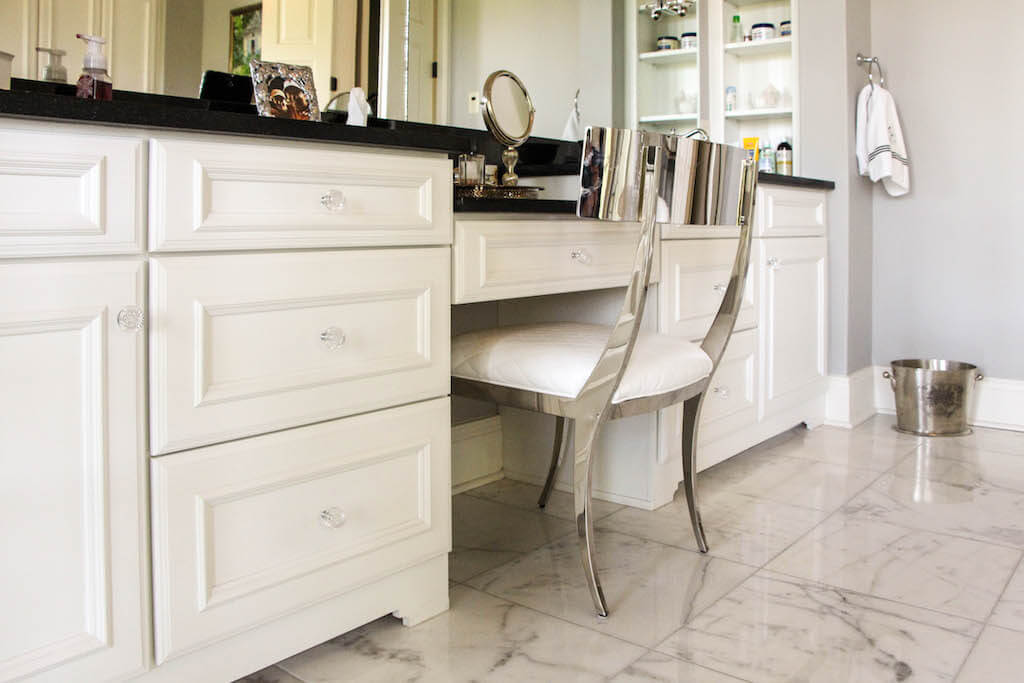white cabinetry for large vanity area