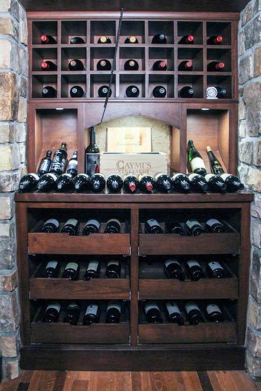 wine cellar with drawers