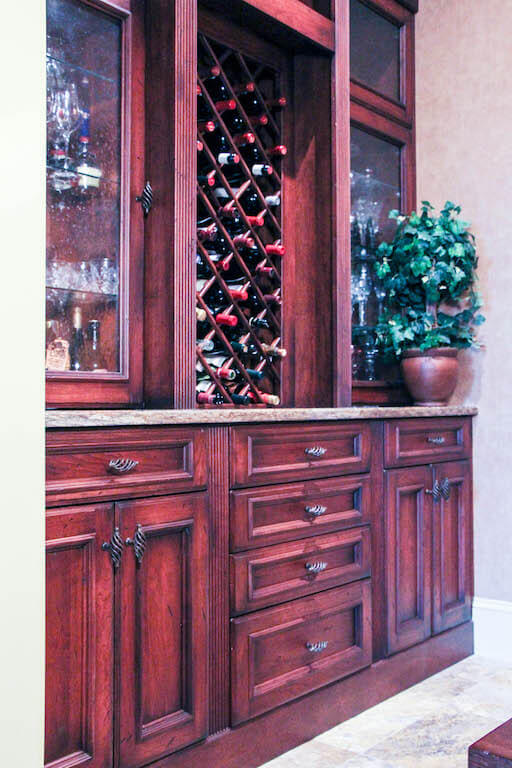 wine storage built into large storage wall